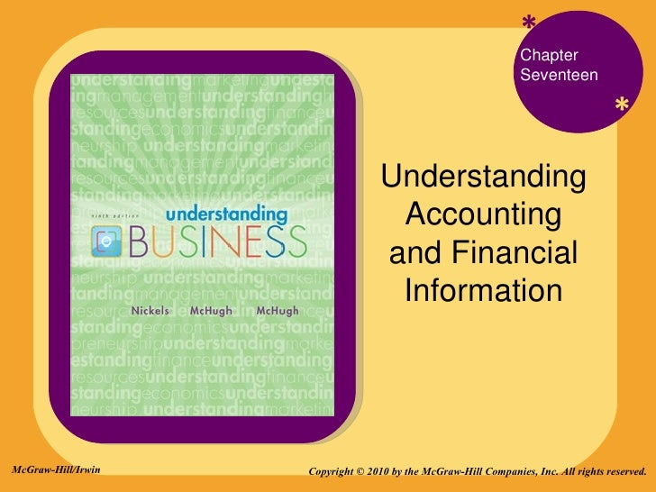 * * Chapter Seventeen Understanding Accounting and Financial Information Copyright © 2010 by the McGraw-Hill Companies, In...