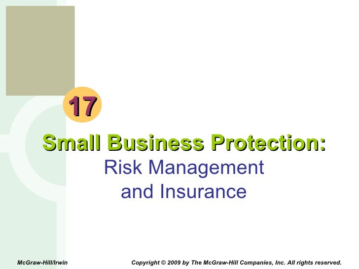 17 Small Business Protection: Risk Management and Insurance McGraw-Hill/Irwin  Copyright © 2009 by The McGraw-Hill Compani...