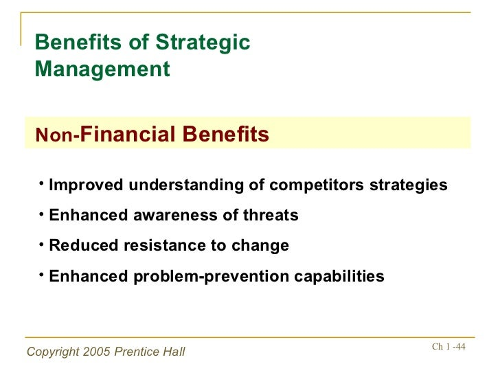 phases and benefits of strategic management Implementation of strategic management practices  and environmental analysis phase are also important and most of the  belief in the benefits of .
