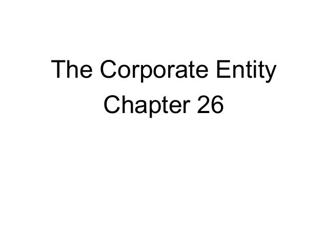 The Corporate Entity Chapter 26