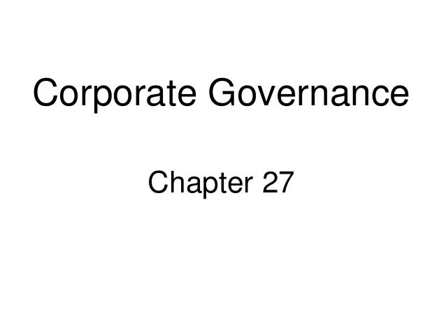 Corporate Governance Chapter 27