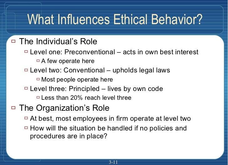 What Influences Ethical Behavior? <ul><li>The Individual's Role </li></ul><ul><ul><li>Level one: Preconventional – acts in...