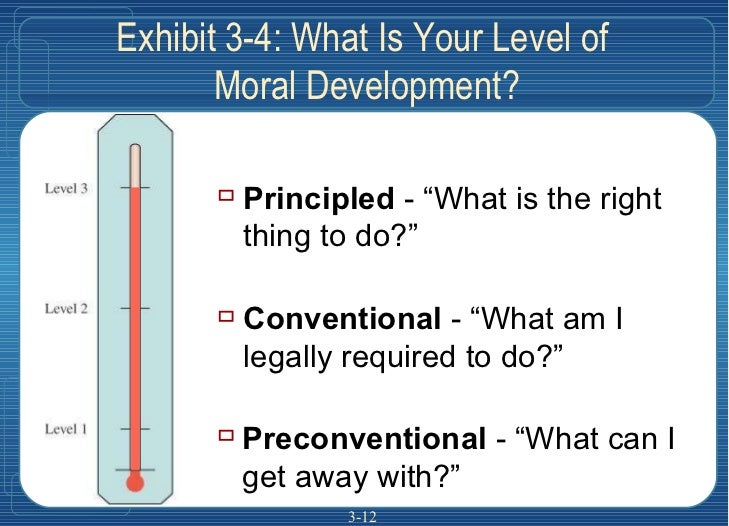 """3- Exhibit 3-4: What Is Your Level of  Moral Development? <ul><ul><li>Preconventional  - """"What can I get away with?"""" </li>..."""