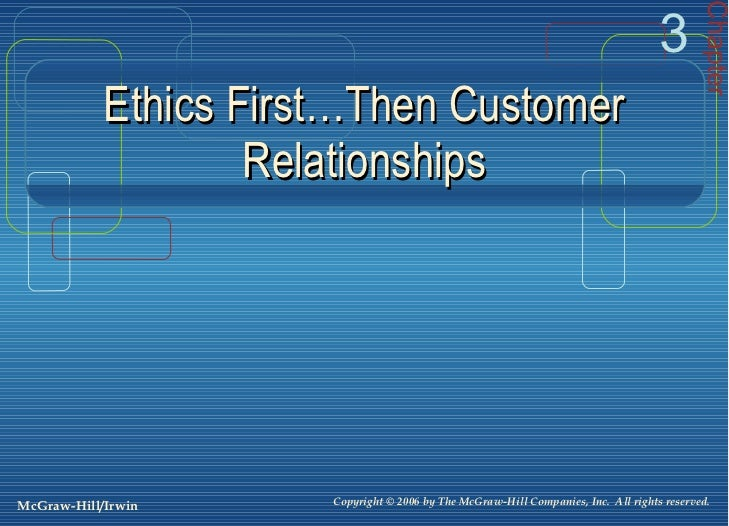 Ethics First…Then Customer Relationships Chapter 3 Copyright © 2006 by The McGraw-Hill Companies, Inc.  All rights reserve...
