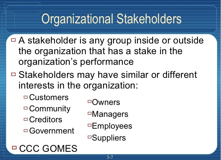 Organizational Stakeholders <ul><li>A stakeholder is any group inside or outside the organization that has a stake in the ...