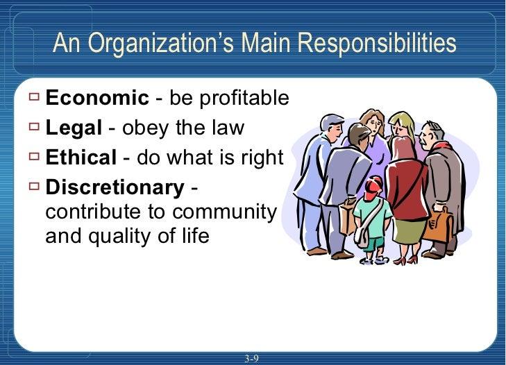 An Organization's Main Responsibilities <ul><li>Economic  - be profitable </li></ul><ul><li>Legal  - obey the law </li></u...