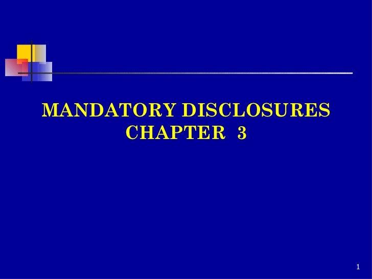 MANDATORY DISCLOSURES CHAPTER  3
