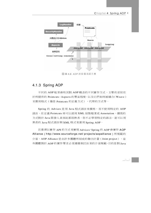 Chapter 4 Spring AOP                              圖   4.6 AOP   意示詞名個各的4.1.3 Spring AOP 在別差的要主,式方作實同不的念概 對其有會架框 的同不       ...