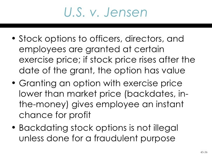 Backdating of stock options