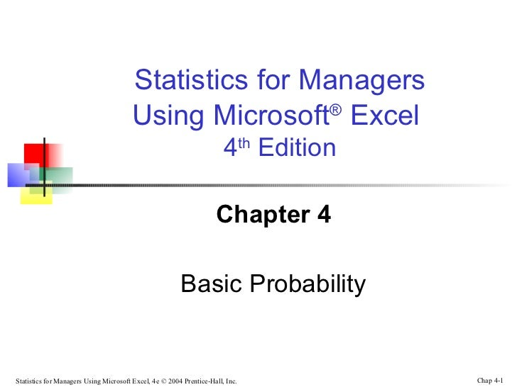 Statistics for Managers                                       Using Microsoft® Excel                                      ...