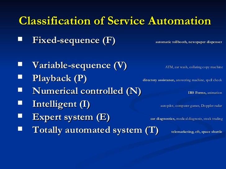 Classification of Service Automation <ul><li>Fixed-sequence (F)    automatic tollbooth, newspaper dispenser   </li></ul><u...