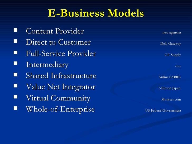 E-Business Models <ul><li>Content Provider    new agencies   </li></ul><ul><li>Direct to Customer    Dell, Gateway </li></...