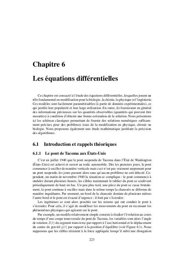Chapitre 6    ´Les equations diff´ rentielles                  e     Ce chapitre est consacr´ a l'´ tude des equations dif...