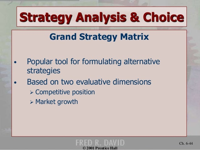 strategid analysis and choice Strategy analysis and choice chapter six chapter objectives 1 describe a three-stage framework for choosing among alternative strategies.