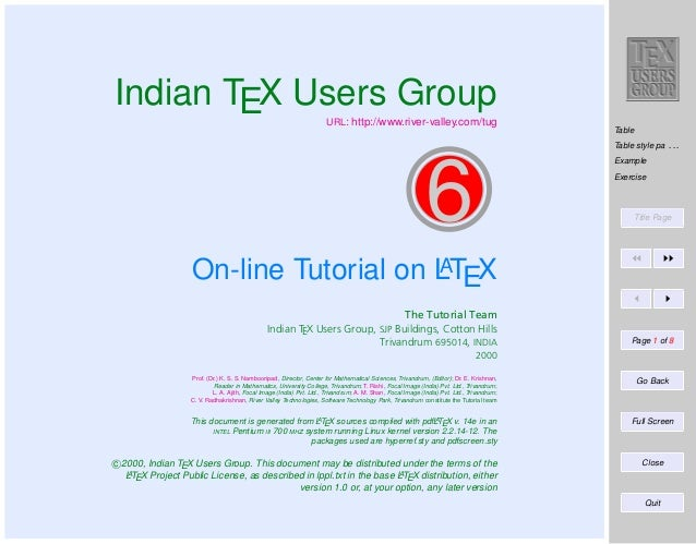 Indian TEX Users Group  URL: http://www.river-valley.com/tug  Table Table style pa . . . Example  6  Exercise  Title Page ...