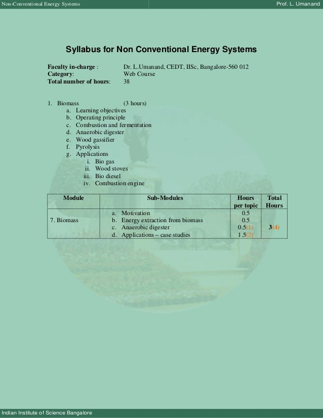 Non-Conventional Energy Systems                                                                      Prof. L. Umanand     ...
