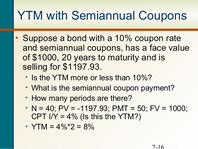 ytm with annual coupons