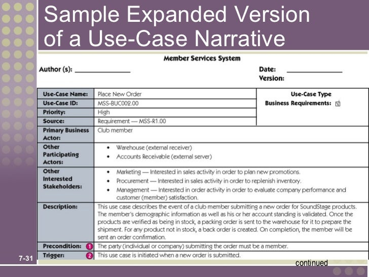 Chapter 7 use case model for Use case narrative template doc