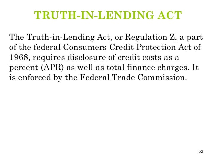 truth in lending act V lending — tila fdic compliance examination manual — february 2018 v-11 truth in lending act introduction the truth in lending act (tila), 15 usc 1601.