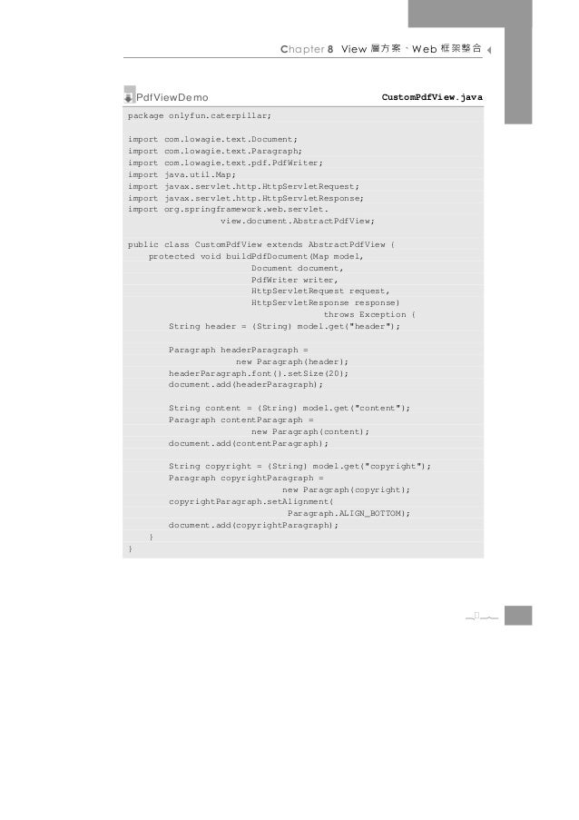 Chapter 8 View   、案方層       W eb   合整架框    PdfViewDemo                                      CustomPdfView.javapackage only...