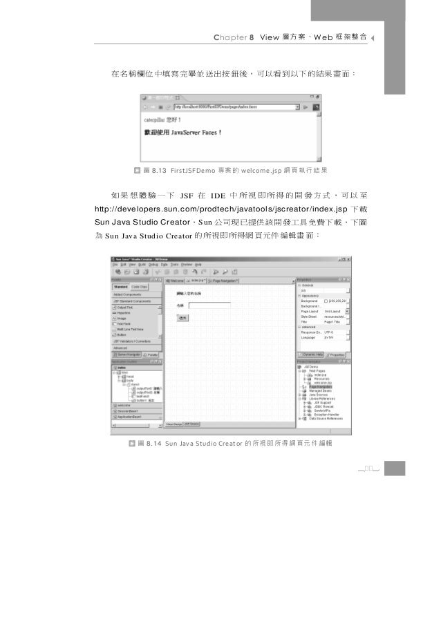 Chapter 8 View      、案方層   W eb   合整架框    : 面 畫 果 結 的 下 以 到看以 可 , 後 鈕 按 出 送 並畢完 寫 填 中 位 欄 稱 名 在            圖   8.13 FirstJ...