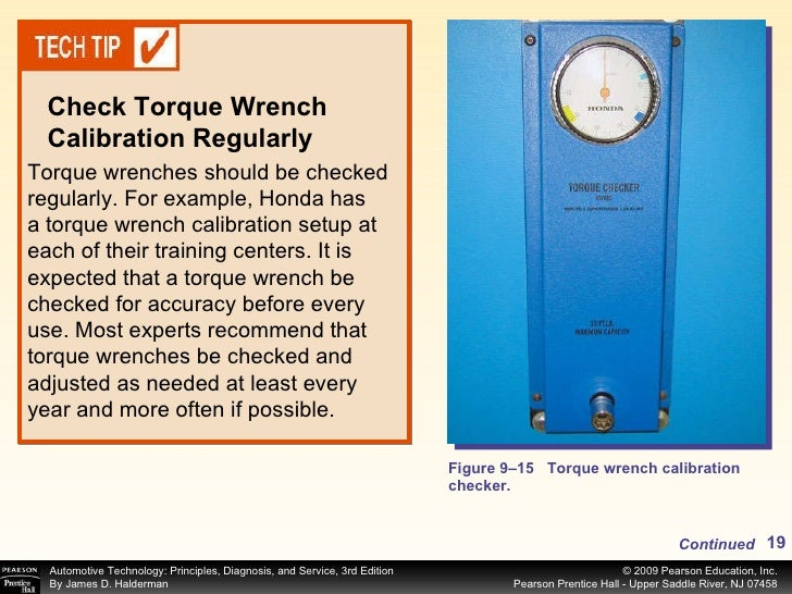Figure 9–15 Torque wrench calibration checker. Torque wrenches should be checked regularly. For example, Honda has a torqu...