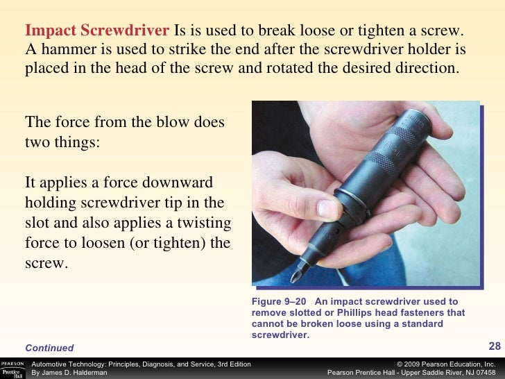<ul><li>Impact Screwdriver   Is is used to break loose or tighten a screw. A hammer is used to strike the end after the sc...