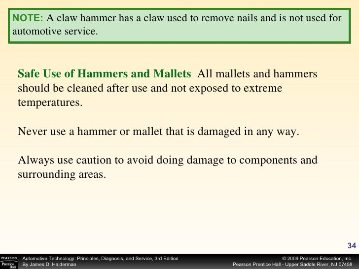 NOTE:   A claw hammer has a claw used to remove nails and is not used for automotive service. Safe Use of Hammers and Mall...