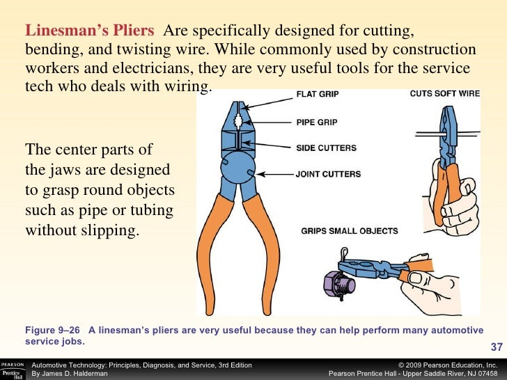 Figure 9–26 A linesman's pliers are very useful because they can help perform many automotive service jobs. <ul><li>Linesm...