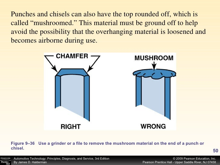 Figure 9–36 Use a grinder or a file to remove the mushroom material on the end of a punch or chisel. Punches and chisels c...