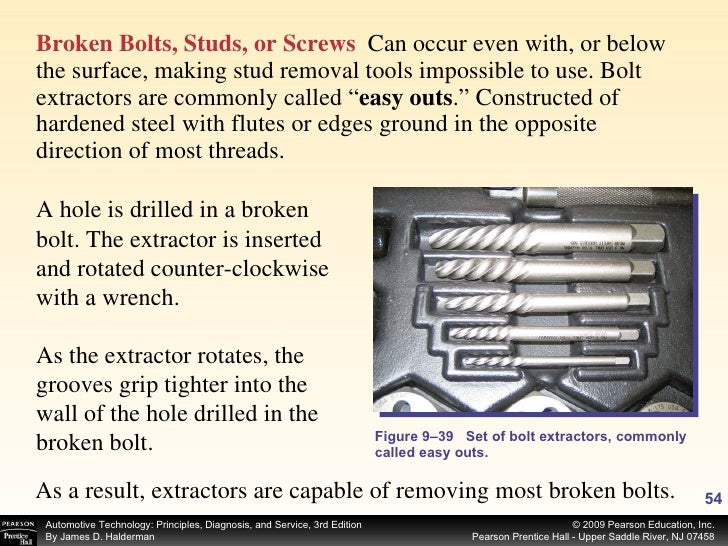 <ul><li>Broken Bolts, Studs, or Screws   Can occur even with, or below the surface, making stud removal tools impossible t...