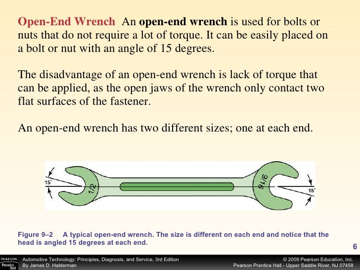 <ul><li>Open-End Wrench   An  open-end wrench  is used for bolts or nuts that do not require a lot of torque. It can be ea...