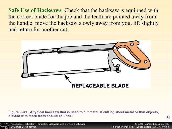 <ul><li>Safe Use of Hacksaws   Check that the hacksaw is equipped with the correct blade for the job and the teeth are poi...
