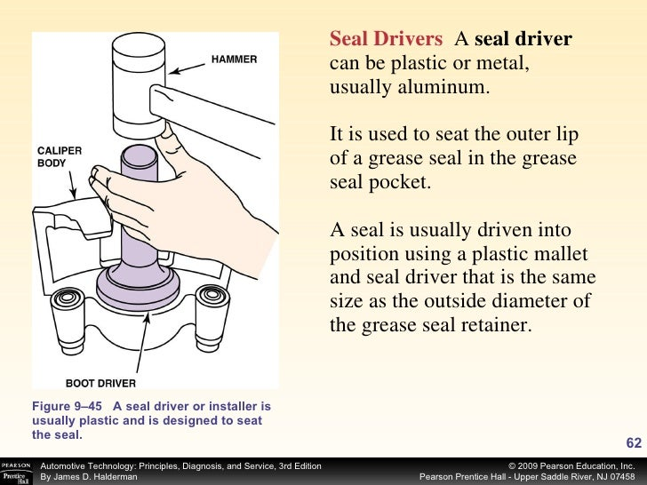 Figure 9–45 A seal driver or installer is usually plastic and is designed to seat the seal. Seal Drivers   A  seal driver ...
