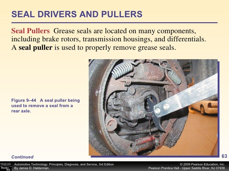 SEAL DRIVERS AND PULLERS <ul><li>Seal Pullers   Grease seals are located on many components, including brake rotors, trans...