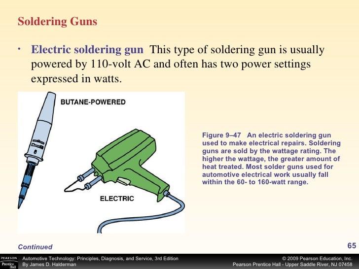 <ul><li>Soldering Guns </li></ul>Figure 9–47 An electric soldering gun used to make electrical repairs. Soldering guns are...