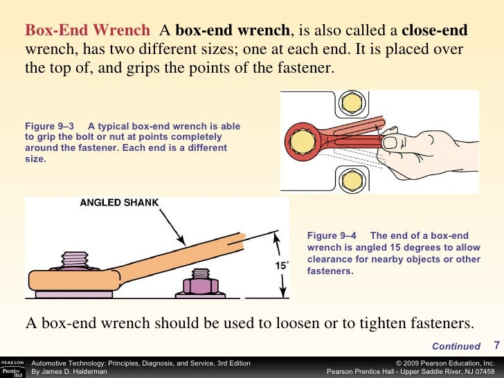 <ul><li>Box-End Wrench   A  box-end wrench , is also called a  close-end  wrench, has two different sizes; one at each end...