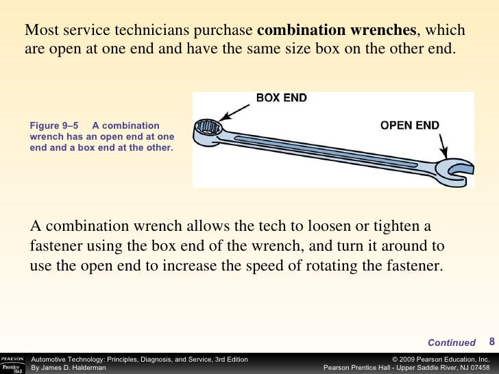 <ul><li>Most service technicians purchase  combination wrenches , which are open at one end and have the same size box on ...