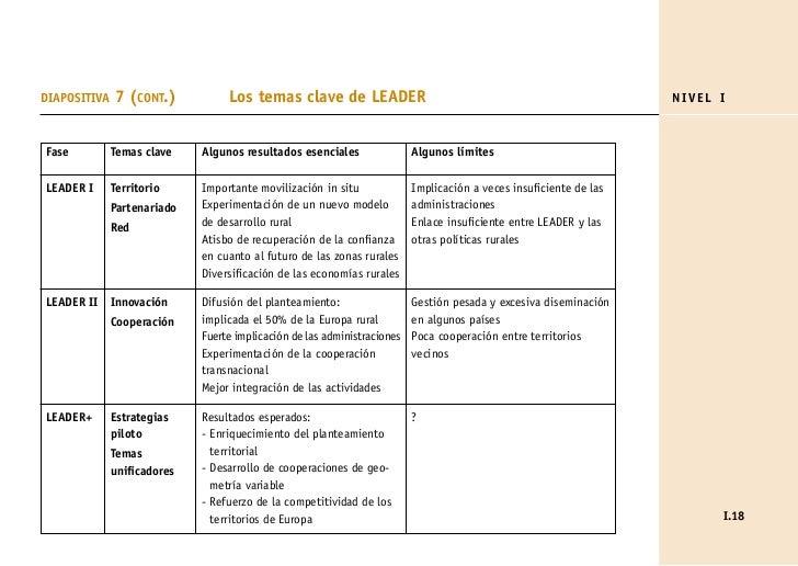 DIAPOSITIVA   7 (CONT.)           Los temas clave de LEADER                                                        NIVEL I...