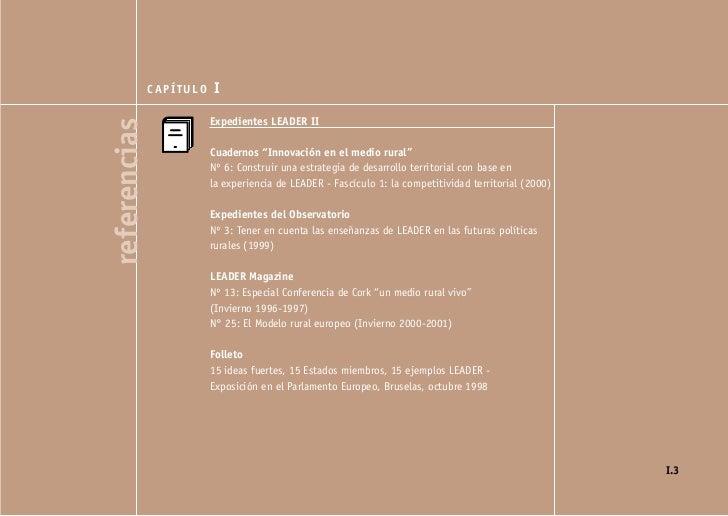 """CAPÍTULO   I                         Expedientes LEADER IIreferencias                         Cuadernos """"Innovación en el ..."""