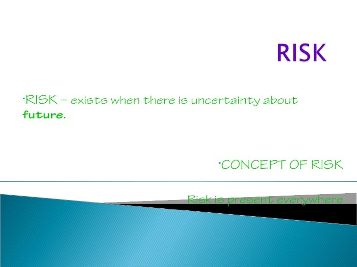 •RISK   – exists when there is uncertainty aboutfuture.                                  •CONCEPT    OF RISK              ...