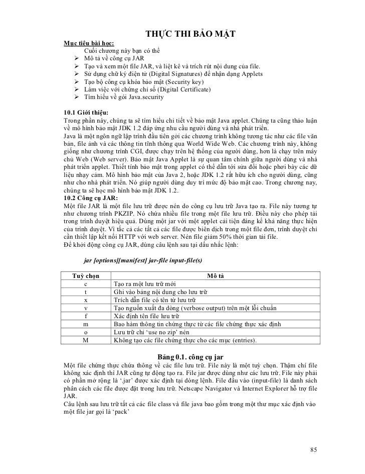 THỰC THI BẢO MẬTMục tiêu bài học:      Cuối chương này bạn có thể      Mô tả về công cụ JAR      Tạo và xem một file JAR, ...