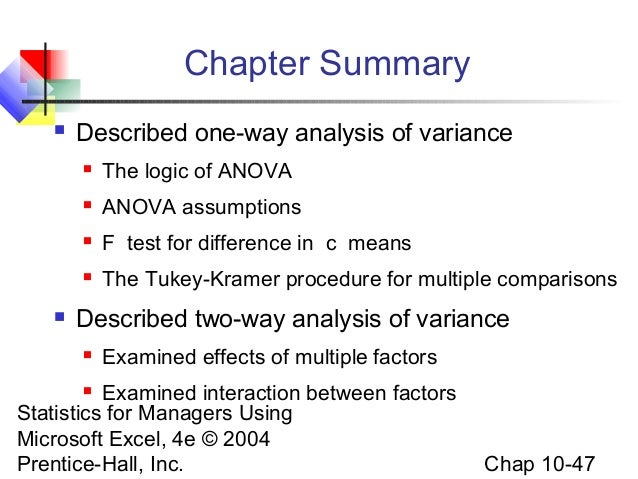 the logic of anova Multivariate analysis of variance (manova): i theory  an anova gives one overall test of the equality of means for several groups  explore the logic behind.