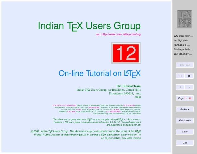Indian TEX Users Group : http://www.river-valley.com/tug  Why cross refer . . . A Let LTEX do it  12  Pointing to a . ....