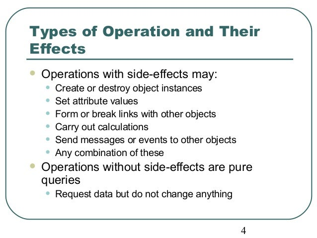 Types of Operation and Their  Effects   Operations with side-effects may:  • Create or destroy object instances  • Set at...
