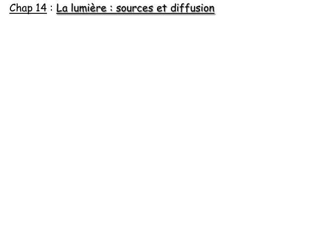 Chap 14 : La lumière : sources et diffusion
