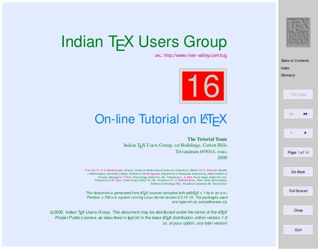 Indian TEX Users Group : http://www.river-valley.com/tug  Table of Contents Index  16  Glossary  Title Page  A On-line ...