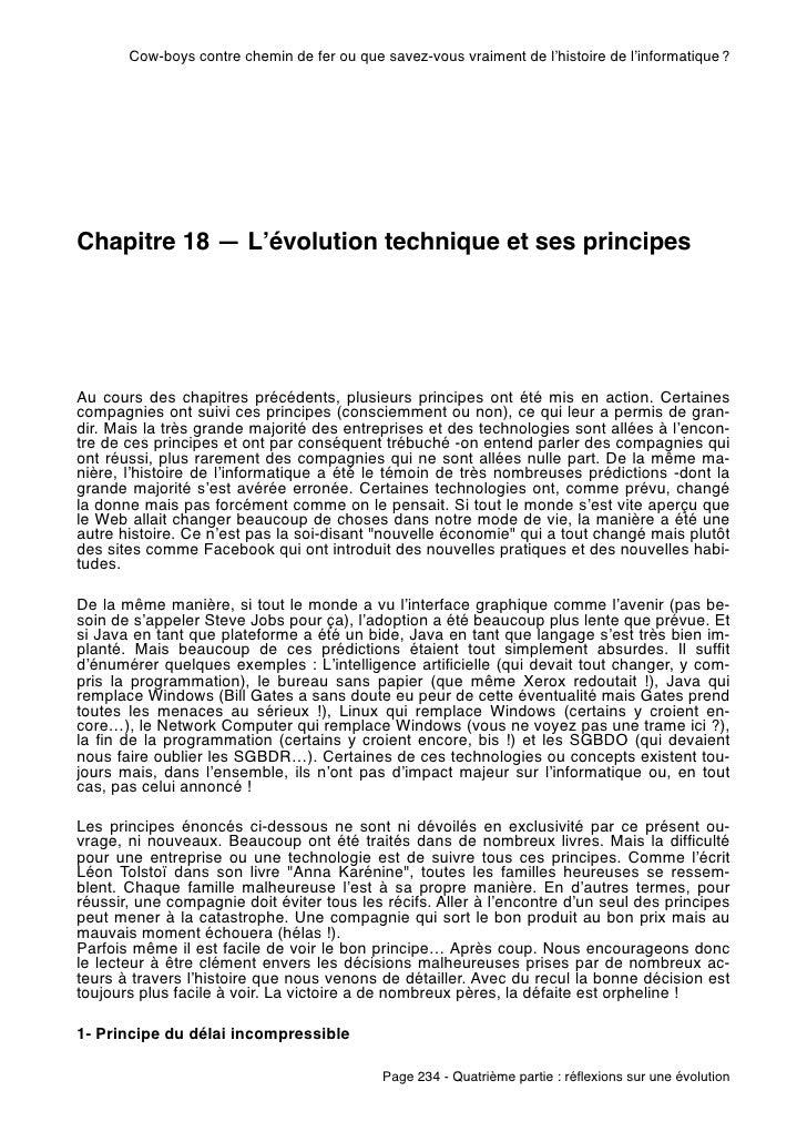 Cow-boys contre chemin de fer ou que savez-vous vraiment de l'histoire de l'informatique?Chapitre 18 — L'évolution techni...