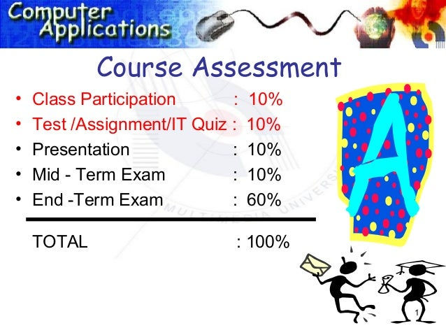 Course Assessment•   Class Participation      :   10%•   Test /Assignment/IT Quiz :   10%•   Presentation             :   ...