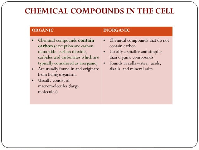 chemical composition of cells Chemical composition of living cells 2 all living organisms, from microbes to  mam- mals, are composed of chemical substances from both the inorganic and.